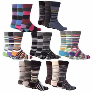 Giovanni Cassini - 6 Pack Men Colourful Striped Cotton Buisness Dress Crew Socks