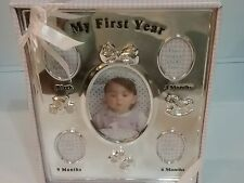 BABY ESSENTIALS My First Year! Silver Plated Baby Girl's Frame - never used