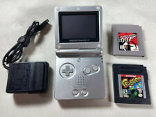 Nintendo Game Boy Advance SP (Platinum Silver) with 2 Games & Charger - Tested