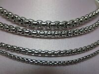 "2/2.5/3/4/5/6mm 16-60"" SMOOTH  BOX ROPE SILVER STAINLESS STEEL CHAIN NECKLACE"