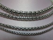 """2/2.5/3/4/5/6mm 16-60"""" SMOOTH  BOX ROPE SILVER STAINLESS STEEL CHAIN NECKLACE"""