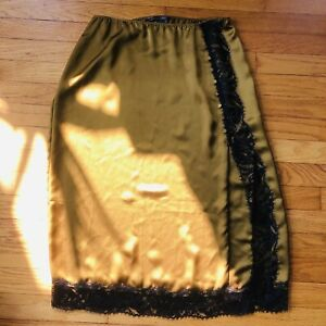 Vintage-Inspired Sexy Silky Chartreuse Green & Black Lace Victoria's Secret Slip