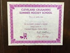 Rare vintage WHA Cleveland Crusaders signed Hockey Certificate brindley Needham