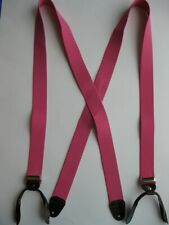 """HIGH QUALITY 1"""" Wide BUTTON ON Suspender LEATHER EARS GOLDTONE METAL MADE IN USA"""