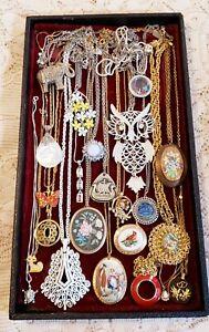22 Piece Vintage and Modern Chains w/ Pendants Necklace Lot - Trifari, Avon