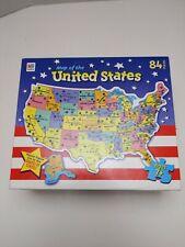 MAP OF THE UNITED STATES JIGSAW PUZZLE 84PCS MILTON BRADLEY 2002 NEW SEALED