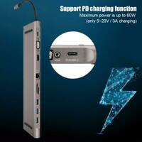 10-in-1 Docking Station USB Hub Type-C to HDMI RJ45 Adapter for Macbook Pro 2017