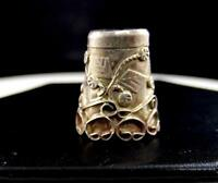 """IGUALA MEXICO .925 STERLING SILVER LEAF AND VINE ORNATE 7"""" THIMBLE"""