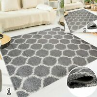 Modern Grey Shaggy Super Soft Trellis Rug Plush 5cm Pile Height Fluffy Area Rugs