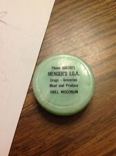 chili wisconsin mengers iga plastic collasping cup 1960's advertising wis wi