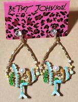 Fashion Betsey Johnson Rare Blue Rhinestone Pearl Mermaid Drop Earrings Jewelry