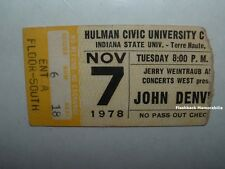 JOHN DENVER Concert Ticket Stub 1978 HULMAN CENTER ISU TERRE HAUTE Very Rare