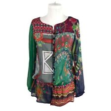 Desigual XS Extra Small Sheer Blouse Button Front Tunic Patchwork Lagenlook Boho