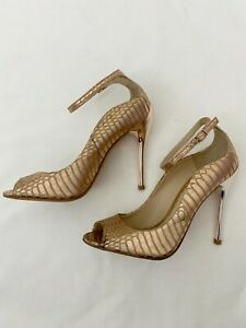 Brian Atwood Leida Metallic Gold Heels Leather Size 7