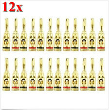 12Pcs Gold 4mm Banana Musical Audio Plug Speaker Wire Cable Screw Connector NW