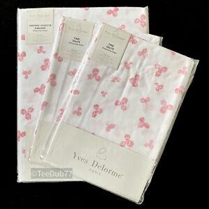 YVES DELORME King Size Duvet Cover + Pillowcases Pink Trefoil Shamrock BNIP