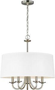 Sea Gull Seville 5-Light Brushed Nickel Drum Chandelier 3320205-962