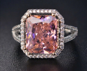 Natural Pink Spinel Gemstone Ring 925 Sterling Silver Women's Wedding Jewelry