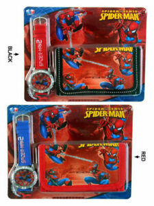 NEW SPIDERMAN KID CHILD ACCESSORIES WRIST WATCH & WALLET ELECTRONIC GIFT TOY