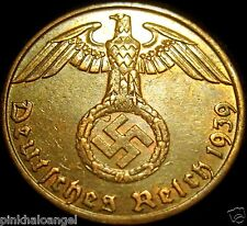 Germany German Third Reich World War 2 Coin 1939J Reichspfennig Coin  Rare