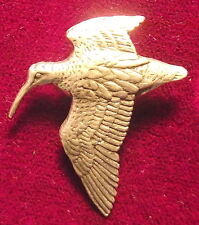 Superb Pewter Hunting Flying Woodcock Small Brooch Pin