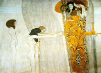 Excellent Oil painting Gustav Klimt - The Beethoven Frieze hand painted canvas