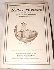 4/1923 Old Time New England SPNEA Vol XIII #4 Meeting House to Church Providence