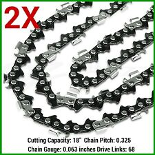 """2X CHAINSAW CHAINS .325 063 68DL FOR STIHL 18"""" BAR MS250 MS251 MS230 MS231 025"""