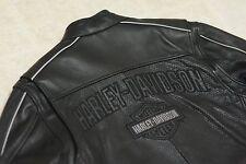 Harley Davidson Men's Reflective Perforated Black Leather Jacket 3XL 97055-08VM