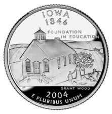 2004 S SILVER GEM PROOF IOWA STATE QUARTER 90% SILVER