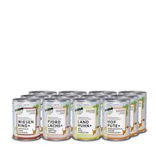 naftie Bio Hundefutter Nassfutter Fleisch-Menüs Mixpaket mit 4 Sorten, 12x400g