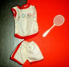 Maddie Mod Tennis Outfit White & Red Olympic Clothes Clone Barbie Sindy 1980'S