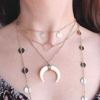Kette Halbmond Halskette Mond Horn Schwarz/Weiß Blogger Schmuck
