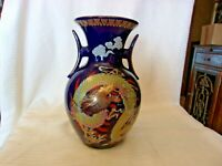 "Cobalt Blue Ceramic Flower Vase With Chinese Dragon Design 10.25"" Tall"