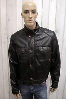 BELSTAFF Uomo Taglia XL Giacca Vintage Nero Giubbotto Man Jacket Biker Chiodo