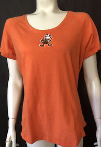 NFL Cleveland Browns Brownie New Womens Large Orange Tee Shirt Fitted Antiqua