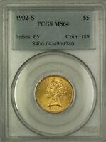 1902-S $5.00 Half Eagle Liberty Gold Coin PCGS MS-64 Very Choice BU KRC