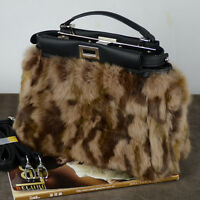 Leopard -Genuine Rabbit Fur Leather Handbag Peekaboo Style Shouler Bag Tote