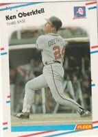 FREE SHIPPING-MINT-1988 Fleer Ken Oberkfell #545 BRAVES PLUS BONUS CARDS