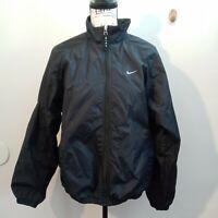 Black Nike Collared Spring Full Zip Windbreaker With Pockets Woman's Size Medium