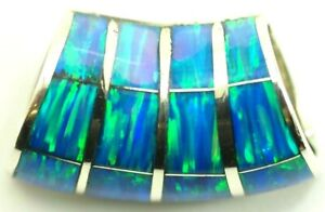 12 Stone Opal Inlay Sterling Silver Slider Pendant Bead 26mm x 12mm