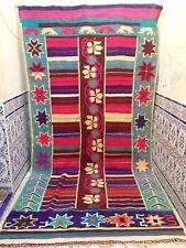 "Vintage Moroccan Handmade Rug Tribal Azilal Rug Old Kilim Rug Wool 12'6"" x 6'"