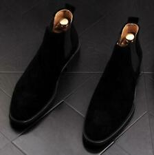 Men's Suede Chelsea Ankle Boots Flat Pointy Toe Pull On Casual High Top Shoes Sz