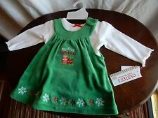 My First Christmas Carters Baby Girl 0-3 Month Velvet 2 Pc. Dress Outfit  NEW!
