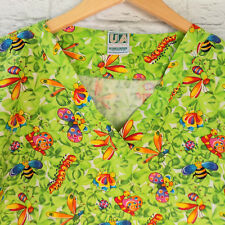 Scrub Top Insect Butterflies Large Lime Green Snails Centipedes Bugs Vet Nurse