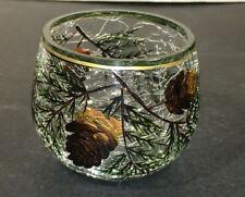 HTF LOT OF 1 Yankee Candle Pinecone PINETREE Crackle VOTIVE Holder GOLD RIM EUC