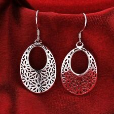 Women Fashion 925 Sterling Silver Plated Small Flower Dangle Hoop Hook Earrings