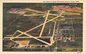 Tulsa Municipal Airport Oklahoma Aerial View 1947 linen postcard