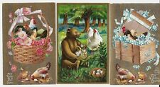 3 Vintage Easter Postcards: Chickens, Chicks, Bear. Exc unused