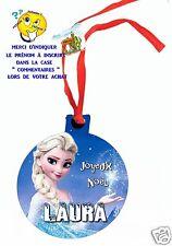 décoration de noël en MDF à suspendre avec ruban personnalisé avec prénom réf 01